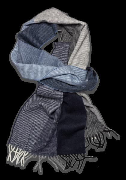 Nantes Schal Diagonal Streifen Blau/Grau