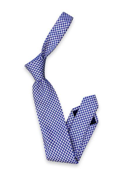 Lauria Krawatte blau/grau Hahnentritt