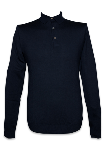 Bergen Strick-Polo Navy