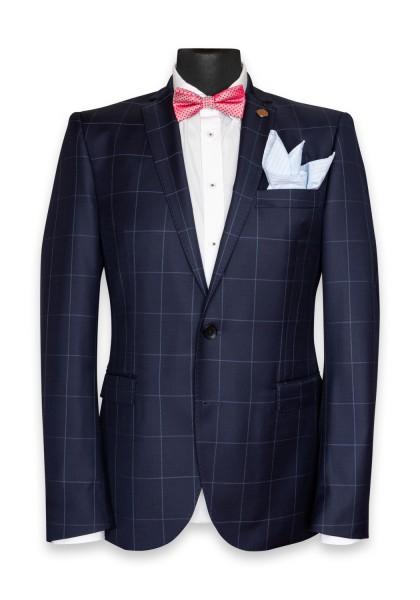 Cambridge Check Anzug-Jacket Dark Navy
