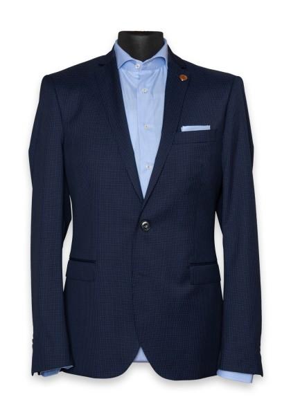 Leeds Anzug-Jacket Mini Check Navy