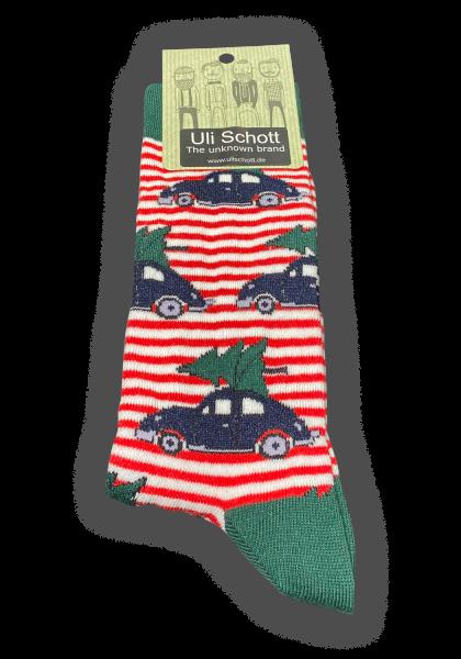 Christmas Socke - Streifen Auto
